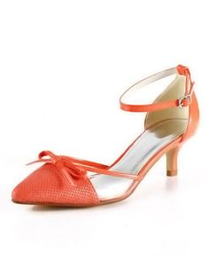 Orange Pointed Toe Bow Ankle Strap PU Woman's Low Heels