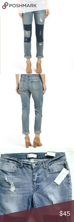 "Kenneth Cole boyfriend jeans with destroy shadow Size: 8 Shadow wash boyfriend jeans Inseam: 29"" Rise: 9"" Waist laying flat: 16"" New with tags Kenneth Cole Reaction Jeans Boyfriend"