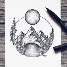 Pen and ink drawings by Alfred Basha // sketchbook drawings Dotted Drawings, Cool Art Drawings, Pencil Art Drawings, Art Drawings Sketches, Drawing Art, Circle Drawing, Stippling Art, Mountain Drawing, Ink Illustrations