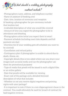 What should a wedding photography