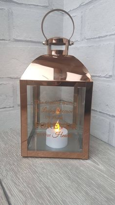 Personalised In Loving Memory Candle Lantern, With Quote, Name & Memory Date by NEVERGROWUPUK on Etsy Candle Lanterns, Candles, Never Grow Up, In Loving Memory, Growing Up, Personalized Gifts, Quote, Memories, Etsy