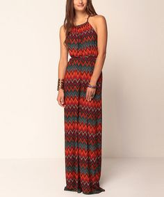 Take a look at this Red Zigzag Valentine Maxi Dress by Jantie on #zulily today!