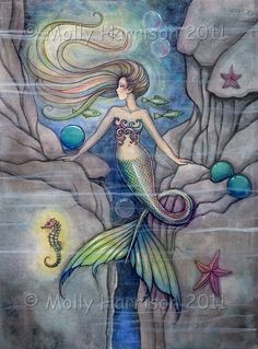 Mermaid Print - What Lies Beneath 9 x 12 Archival Fine Art Giclee Print - Fantasy Illustration by Molly Harrison by MollyHarrisonArt on Etsy https://www.etsy.com/listing/224312936/mermaid-print-what-lies-beneath-9-x-12