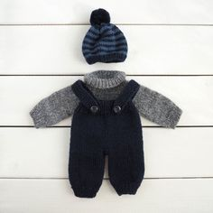"""Doll knitted outfit - 11"""" waldorf doll clothes, hand knitted doll clothes, doll sweater, doll overalls, doll jumper, boy doll outfit"""