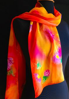 Bright and vibrant silk chiffon scarf by FantasticPheasant on Etsy, $30.00