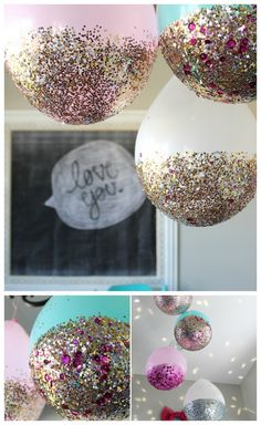 Last minute DIY balloon ideas for birthday parties and more using dollar store supplies that will make your party rock. Easy DIY balloon tutorials for kids. Diy 50th Birthday Decorations, Birthday Centerpieces, 50th Birthday Party, Birthday Gifts, Ballons Brilliantes, Glitter Balloons, Butterfly Balloons, Diy Balloon, Balloon Decorations