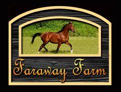Custom residential,horse farm sign with illustration of client's horse by THE SIGN MAN of North Myrtle Beach, South Carolina.  Facebook page Residential Signs by The Sign Man.  email: wodinart@aol.com.  phone: 843-272-3820.