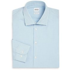 Armani Collezioni Regular-Fit Check-Print Dress Shirt (8.090 CZK) ❤ liked on Polyvore featuring men's fashion, men's clothing, men's shirts, men's dress shirts, apparel & accessories, blue, mens long sleeve cotton shirts, mens longsleeve shirts, mens long sleeve shirts and mens dress shirts