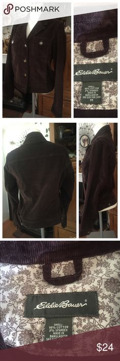 EDDIE BAUER Brown Corduroy Jacket Classic style EDDIE BAUER Brown Corduroy Jacket in 98% cotton; 2% spandex. Size M. In excellent preowned condition but missing bottom button. Personally I never button the last button. Smoke-free home. Eddie Bauer Jackets & Coats