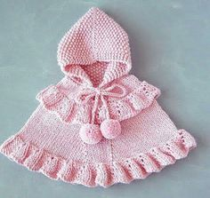 Pink Baby Girl Poncho & Toddler Ruffled Sweater & Alpaca Knit Hooded Cape & Romantic Children Outfit & One Of A Kind & from KnittName on Etsy.