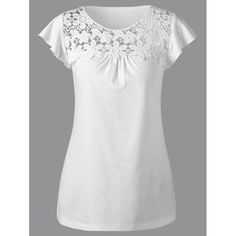 Lace Insert Cutwork T-ShirtT Shirts For Women - Cool Tees Fashion Sale OnlineTees & T shirts - Best Graphic, Long Sleeve And Baseball Tee Shirts Cheap Online Sale Dressy Tops, Strapless Tops, Lace Insert, Cutwork, Blouses For Women, Women's Blouses, Latest Fashion For Women, Mens Fashion, Work Blouse