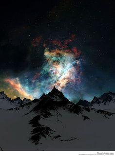 Amazing Nebula Over mountains.