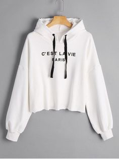 Cropped French Paris Print Hoodie - White S