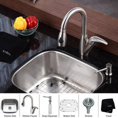 """View the Kraus KBU11-KPF2121-SD20 Kitchen Combo - 20-3/4"""" Undermount Single Bowl 16 Gauge Stainless Steel Kitchen Sink with Pullout Spray Kitchen Faucet and Soap Dispenser at FaucetDirect.com."""