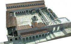 Reconstrucción del  Foro.En el centro había un monumento cuadrado y escalonado , con un motivo escultórico en el centro y cuatro estatuas en las esquinas, similar a otro encontrado en Herculano. Imagen capturada de la web del Campo Arqueológico.