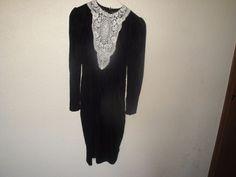 Vintage Gunne Sax Jessica  McClintock Soft Black Velvet White Lace Dress  Size 7 #GunneSax #EmpireWaist #Formalcocktail