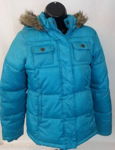 Old Navy Light Blue Bright Winter Jacket Coat Hood Girls Puffer XL Turquoise