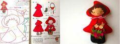 ARTE COM QUIANE - Paps,Moldes,E.V.A,Feltro,Costuras,Fofuchas 3D: Molde Chapeuzinho Vermelho