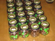 Monkey themed favors using recycled baby food jars.