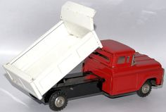 Vintage Tin Lithographed Friction Red & White Dump Pickup Truck, Made in Japan