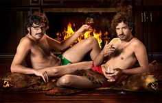 """Christmas Time"" greeting Flight of the Conchords, Bret McKenzie and Jemaine Clement (song in link) Funny Celebrity Pics, Funny Photos, Bret Mckenzie, Bear Skin Rug, Bear Rug, Jemaine Clement, Flight Of The Conchords, Comedians, In This World"