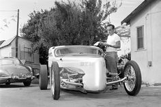 Mr. Barris in 1961 with a 500-horsepower hot rod he converted from a 1931 Model A coupe. Credit Ellis R. Bosworth/Associated Press