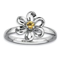 Sterling Silver Stackable Expressions Polished Citrine Flower Ring QSK112