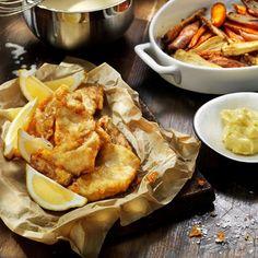 Fish and chips på torskfilé med rotfrukter och citrusaioli
