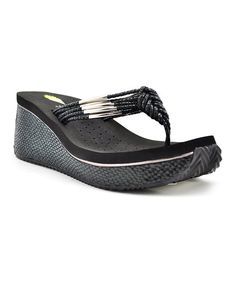 Look at this Black Compound Wedge Sandal on #zulily today!