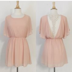 HP 7/2 🎉🎉Lace Open Back Dress ONE LEFT SIZE SMALL - get it now  🌟Elegant open lace back dress (see pics for back) . Made in the USA. Beautiful blush color. 🕶 1 small & 1 medium 🕶no trades 🕶prices firm except if you bundle April Spirit Dresses