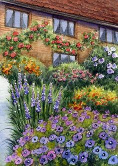 ACEO Original Miniature Watercolor Painting Garden by Elena Mezhibovsky #Miniature