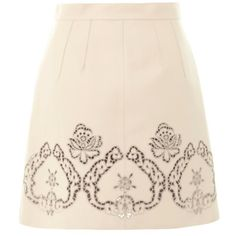 Dolce & Gabbana Beige Laser-cut Leather Skirt ($680) ❤ liked on Polyvore featuring skirts, faldas, beige, button up skirt, leather skirt, beige leather skirt, laser cut leather skirt and pink leather skirt