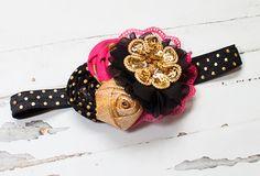 Diva Darling headband in hot pink/fuchsia black por SoTweetDesigns