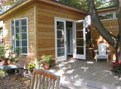Cedar Urban Studio Shed with French double doors in Toronto, Ontario. ID number Pool Shed, Backyard Sheds, Garden Sheds, Backyard Studio, Backyard Projects, Studio Shed, Run In Shed, Wood Shed Plans, Modern Shed