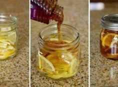 """Winter Sore Throat Tea Recipe: In a 12-16 oz. jar combine lemon slices and sliced ginger.Pour honey (organic is best) over it slowly. Make sure when the honey has filled in all the voids, there is enough to cover the top of the lemon slices.Close jar and put it in the fridge, it will form into a """"jelly"""". To serve: Spoon jelly into mug and pour boiling water over it. Store in fridge 2-3 months."""