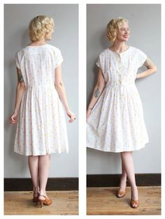 1950s Dress // Polka Dot Day Dress // vintage by dethrosevintage