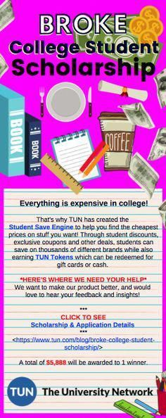Broke College Student Scholarship Easy scholarship for broke college students / spring and fall deadlines / apply via email or social media platforms // The University Network - Earn College Scholarships Financial Aid For College, College Planning, Education College, College Tips, Education Degree, College Mom, College Loans, Education Posters, Career College