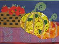 1st. Pumpkin , squash, woven basket.