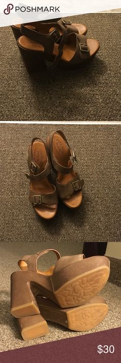 Platform Sandals (leather) Cute and comfortable sandals for warm weather. Worn once, feet are too wide for these shoes. Approximately 4.5in heels with a 1 3/4 platform. KORK EASE Shoes Sandals