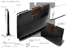 Carbon fibre & leather case concept sketchDesign by Eugene Pucklich Id Design, Sketch Design, Id Digital, 3d Camera, Bag Illustration, Industrial Design Sketch, Cool Sketches, Transportation Design, Laptop Case