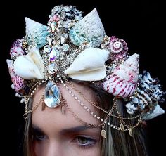If you've ever wanted to feel like royalty but found regular tiaras too boring, look no further. These mermaid crowns are perfect for any aspiring princess of Shell Crowns, Seashell Crown, Pretty Mermaids, Mermaid Crown, Circlet, Tiaras And Crowns, Pageant Crowns, Fascinators, Headpieces