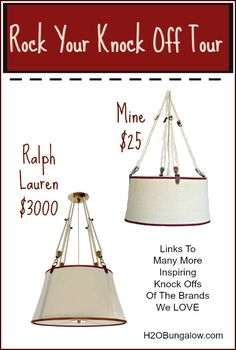 My nautical pendant light is a knock off of Ralph Lauren's Miramar pendant light. I fell in love with it and had to have. Mine $25 Ralph's $3000.