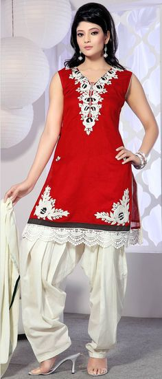 #Red Readymade Chanderi #Silk #Salwar Suit @ $127.58