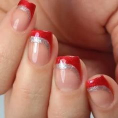 --Video Pin-- get a glittery swooping french manicure look for this holiday season with the essie winter 2019 collection! nailstorming creates this nail art look with nail polish shades knotty or nice and making spirits bright . Xmas Nails, Holiday Nails, Pink Nails, Bright Nails, Easy Christmas Nails, Christmas Lights, Cute Acrylic Nails, Cute Nails, Pretty Nails