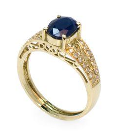 Anel em Ouro 18k, com uma Safira Azul e Diamantes | Ring in 18k Gold with a Blue Sapphire and Diamonds | 1001 Noites