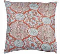 Blue (my wall color) & dark coral (accent color) pillow