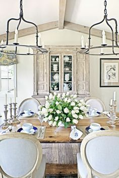 Gorgeous. English French country traditional dining room.