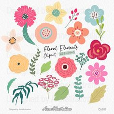 Floral Elements ClipartSpringflower | Etsy Blush Flowers, Spring Flowers, App Design, Your Design, Simple Collage, Flower Clipart, Vector Format, Embroidery Files, Red Background