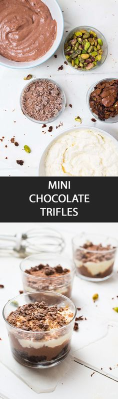 Mini Chocolate Trifles - {NEW RECIPE} Mini Chocolate Trifles are easy to prepare, cute to look at and delicious to eat. It's a great way to get kids involved in the kitchen with this dessert. Chocolate Caramel Brownies, Chocolate Trifle, Chocolate Desserts, Fun Desserts, Dessert Recipes, Dinner Recipes, Gourmet Recipes, Sweet Recipes, Delicious Recipes