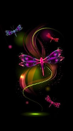 By Artist Unknown. Dragonfly Wallpaper, Wallpaper Flower, Dragonfly Art, Heart Wallpaper, Butterfly Art, Love Wallpaper, Cellphone Wallpaper, Colorful Wallpaper, Mobile Wallpaper